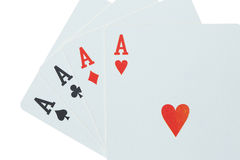 Four aces. Close up of four aces isolated on white royalty free stock photography