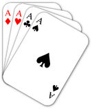 Four aces. Poker cards, the four aces in hand Stock Images