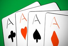 Four aces. Illustration of four aces of green background, slight 3D effect vector illustration