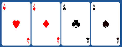 Four aces. On color gradient background Stock Images