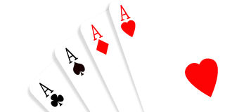 Four aces. On gradient background Stock Photos