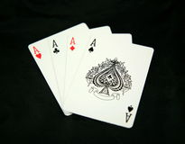 Four aces. The hand of cards we would all want to play, Four aces stock image