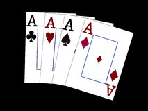 Four aces. Illustration of four playing cards - ace of clubs, hearts, spades and diamonds - on a black background Royalty Free Stock Image