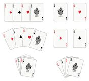 Four Aces. Aces playing cards isolated and four different arrangements Royalty Free Stock Image