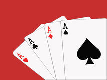 Four Aces. An illustration of four playing cards on a red table Stock Photo