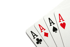 Four aces. Over white background Stock Images