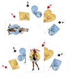 Four aces and Afroamerican Joker playing cards Stock Photo