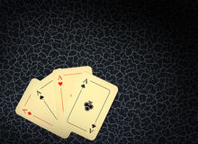 Four aces on background in cracks Stock Photography