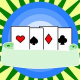 Four aces with a blank banner. Illustration of four cards the ace of clubs, diamonds, spades and hearts, on a background with a blank banner for your added text Stock Images