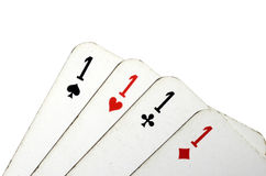 Four aces card on white background Royalty Free Stock Images