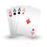 Four aces. Cards on white.  Stock Images