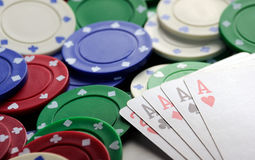Four aces casino   chips Stock Images