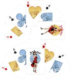 Four aces and Caucasian Joker playing cards noir. Four aces and female Caucasian Joker starlet with gun playing cards noir Mafia set Royalty Free Stock Photos