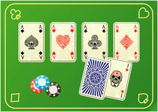 Four aces with chip. On mats poker Royalty Free Stock Photography