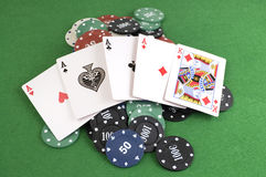 Four Aces on chips Royalty Free Stock Photography