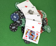 Four Aces on chips Stock Images