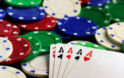 Four aces  chips Royalty Free Stock Photo