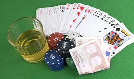 Four Aces on chips and and glass of whisky Royalty Free Stock Image