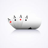 Four aces combination, poker, casino, curved,. On white background Stock Photo