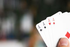 Four aces and copyspace Royalty Free Stock Images