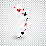 Four aces of diamonds clubs spades and hearts fall or fly as poker playing cards.  Stock Image