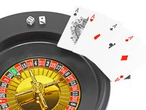Four aces and dice Royalty Free Stock Image