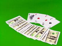 Four aces and dice on green broadcloth . Stock Images