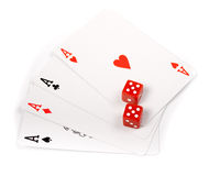 Four aces with dice isolated Stock Images