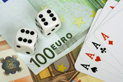 Four aces and euro money. Two dices, four aces and euro money stock photos