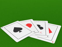 Four Aces on a Felt Gaming Table Stock Photography