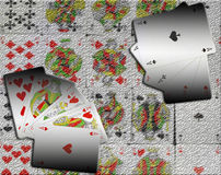 Four aces   and flush royal placed on the colorful Stock Photos