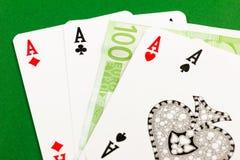 Four aces  - gamble euro money Stock Photos