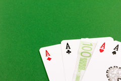 Four aces  - gamble euro money Royalty Free Stock Photography
