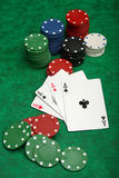Four aces with gambling chips Stock Photography