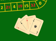 Four aces on a green playing table Stock Images