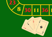 Four aces on a green playing table Royalty Free Stock Photo