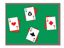 Four aces on green table. Vector image Stock Photos