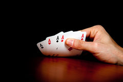 Four aces hand Royalty Free Stock Photo