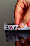 Four aces in hand Royalty Free Stock Images