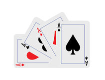 Four aces hand fan-shaped. Aces hand fan-shaped four playing cards Stock Photo