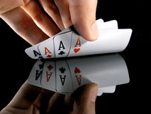 Four aces in the hands Stock Photography