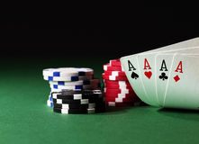 Four aces high on green Stock Photo