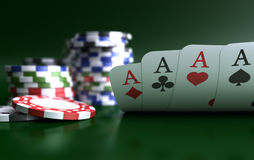 Four Aces High On Green Table With Chips Stock Images