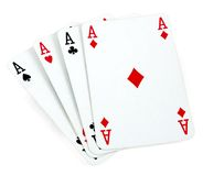 Four aces isolated on white Royalty Free Stock Photography