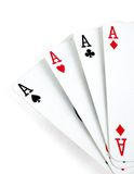 Four aces isolated on white Royalty Free Stock Images