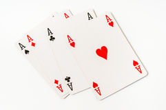 Four aces isolated on white background Stock Photography