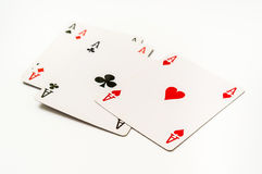 Four aces isolated on white background Royalty Free Stock Photography