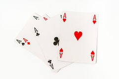 Four aces isolated on white background Stock Images
