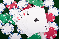 Four Aces And A Joker Winner Royalty Free Stock Photos