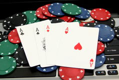 Four Aces on laptop Royalty Free Stock Photo